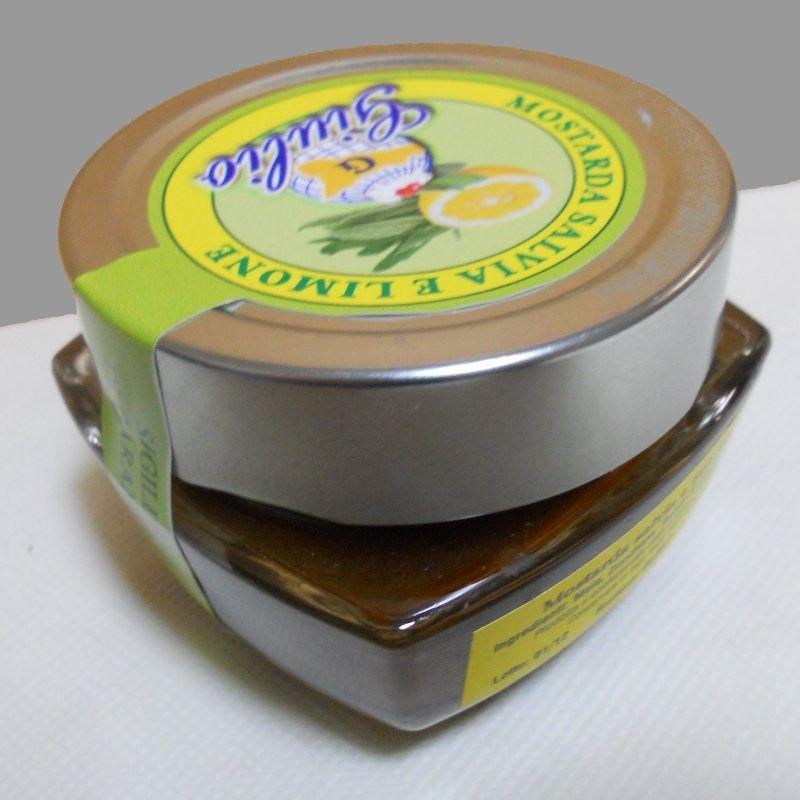 Particolare del vasetto della Mostarda Salvia e Limone