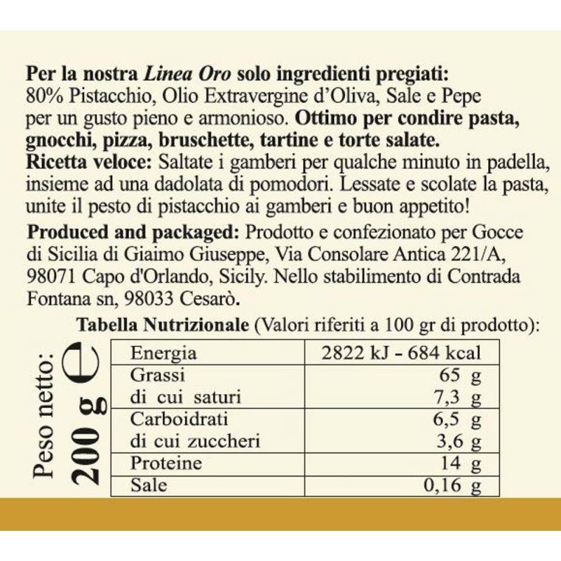 Gold Pistachio Pesto Gocce di Sicilia