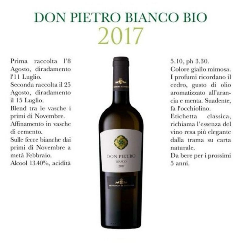Don Pietro Organic White Wine 2019 - Dei Principi di Spadafora