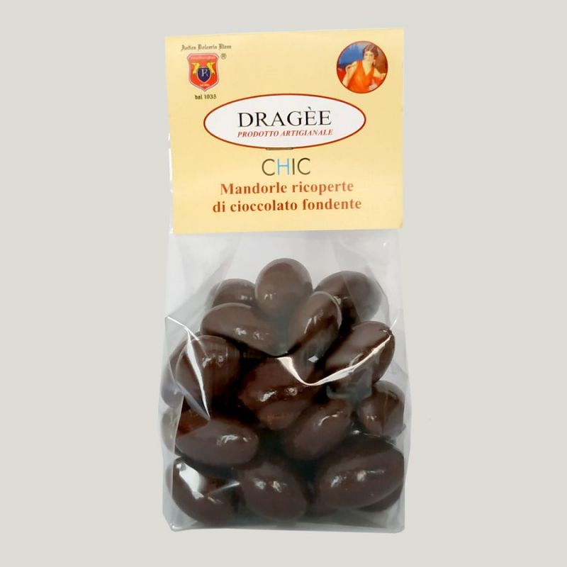 Dragee almonds covered with dark chocolate