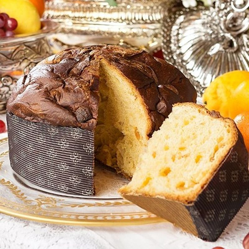 Panettone with Sicilian Citrus fruits and Saffron in an elegant tin By D&G. 500 g