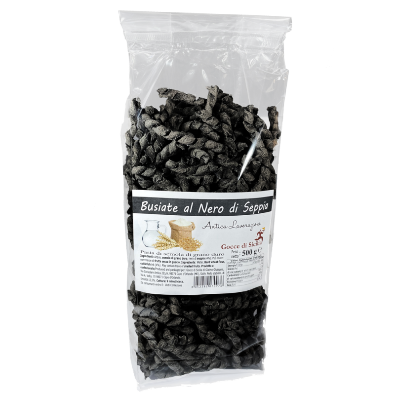 Busiate with Cuttlefish Ink - Sicilian pasta