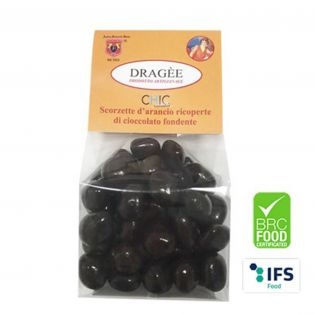 Dragee Orange peel covered with fine dark chocolate