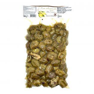 Olive verdi schiacciate Alla contadina