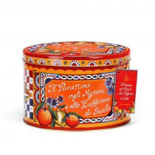 Panettone with Sicilian Citrus fruits and Saffron in an elegant tin By D&G. - 500g