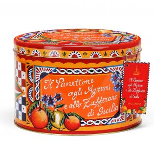 Panettone with Sicilian Citrus fruits and Saffron in an elegant tin By D&G. - 1 kg