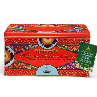Panettone with Sicilian Pistachio in an elegant tin By D&G. - 600 g